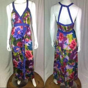 Bebe Floral Watercolor Silk Ruffled Maxi Dress